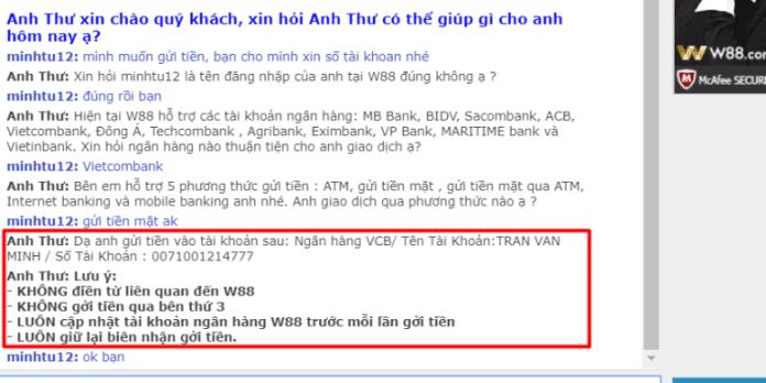 hướng dẫn gửi tiền w88