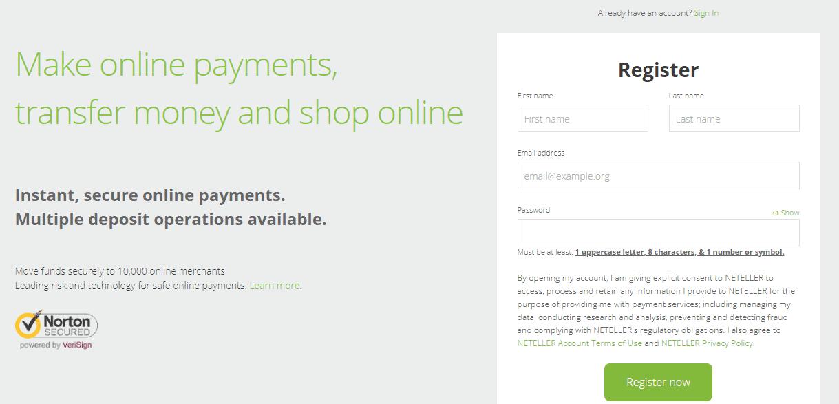 đăng ký ví điện tử neteller