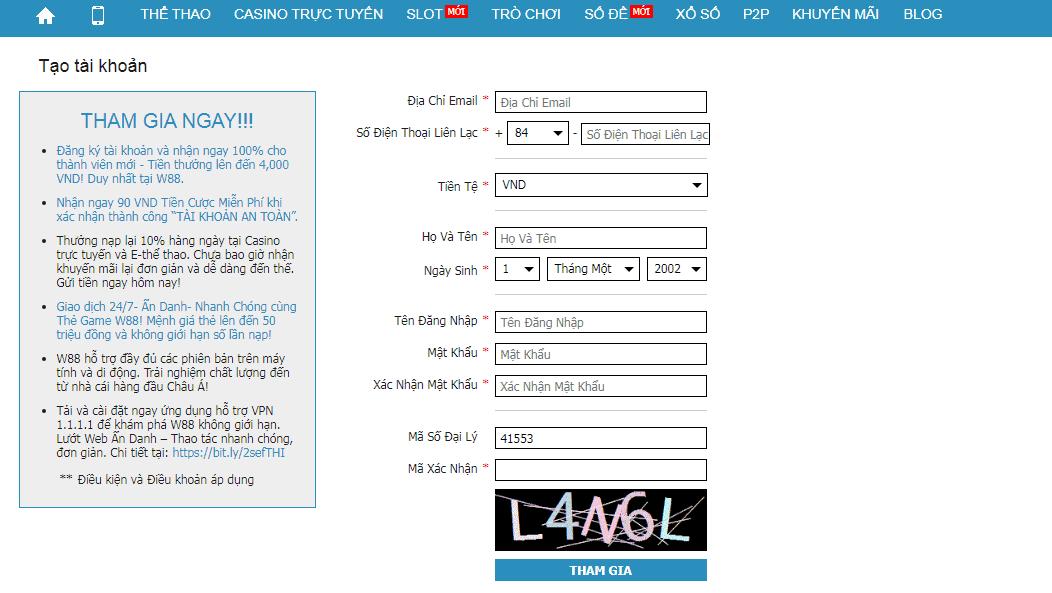 cách đăng ký chơi jackpot trên w88